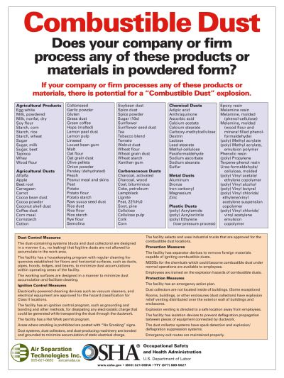 OSHA Combustible Dust Information Poster